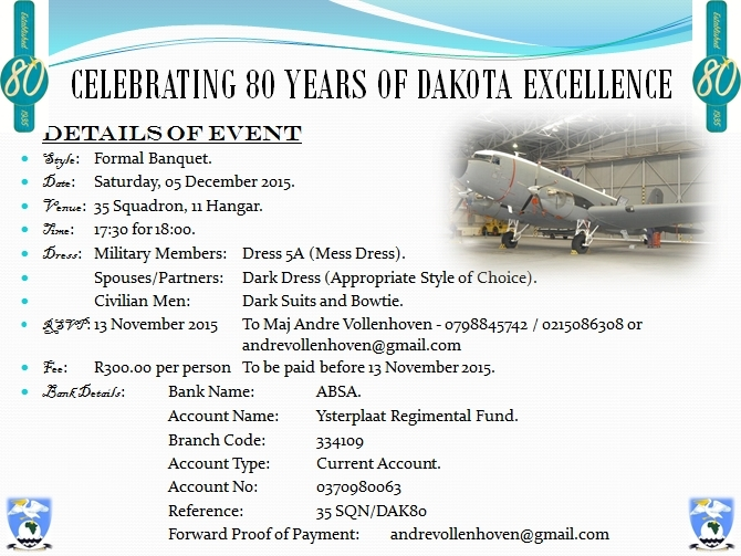 DC-3 C-47 Dakota 80th Anniversary Ysterplaat-00 Invitation