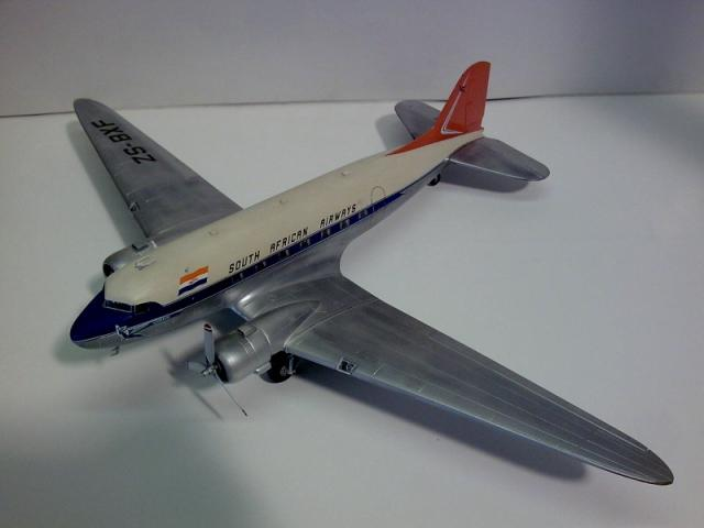 Model Custom DC-3 South African Airways Orange Tail ZS-BXF