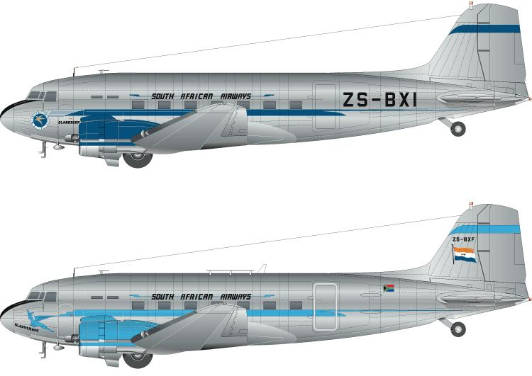 Model F-DCAL FD14546 c Decals South African Airways Douglas DC-3 144 scale