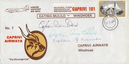 2008 ZS-KEX South West Africa first flight Katima Mulilo-Windhoek 17 October 1978 signed