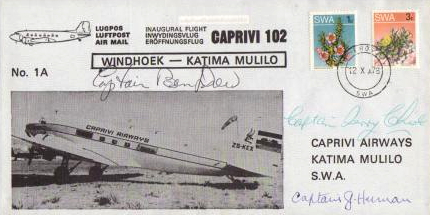 2008 ZS-KEX South West Africa first flight Windhoek-Katima Mulilo 12 October 1978 signed