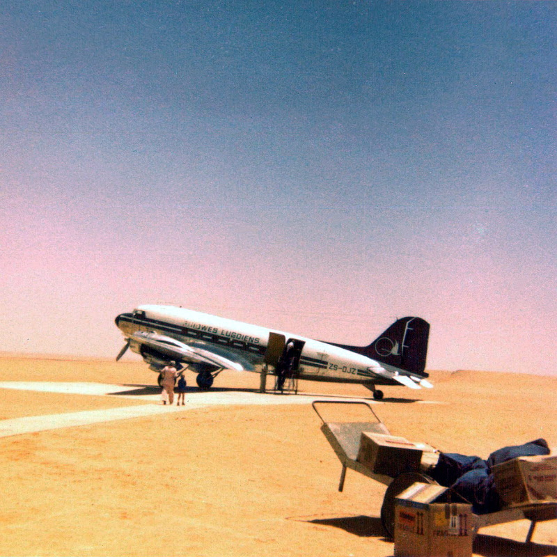 26244 ZS-DJZ at Walvis Bay Airport in about 1976 Luke Rogers-800